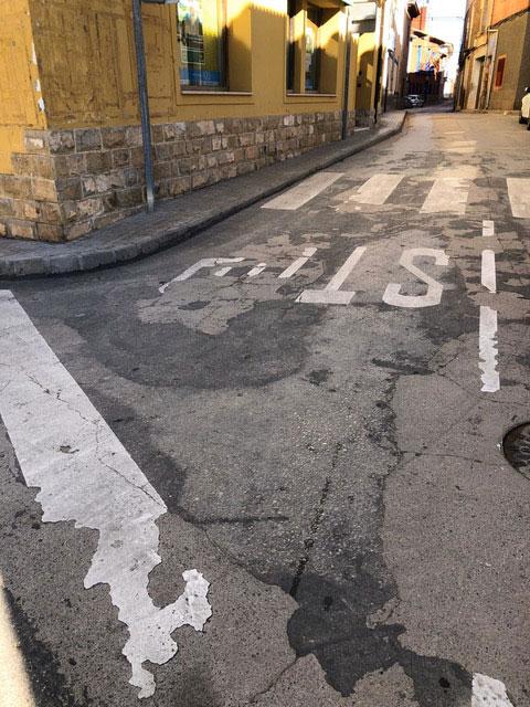 Asfalto de la carretera de Muniesa en mal estado./ Ayto. Muniesa