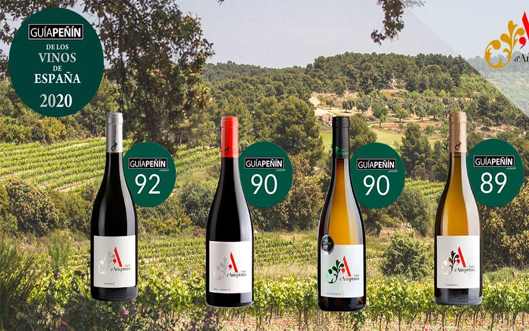 Últimas puntuaciones de la Guía Peñín que han recibido los vinos Lagar d'Amprius.