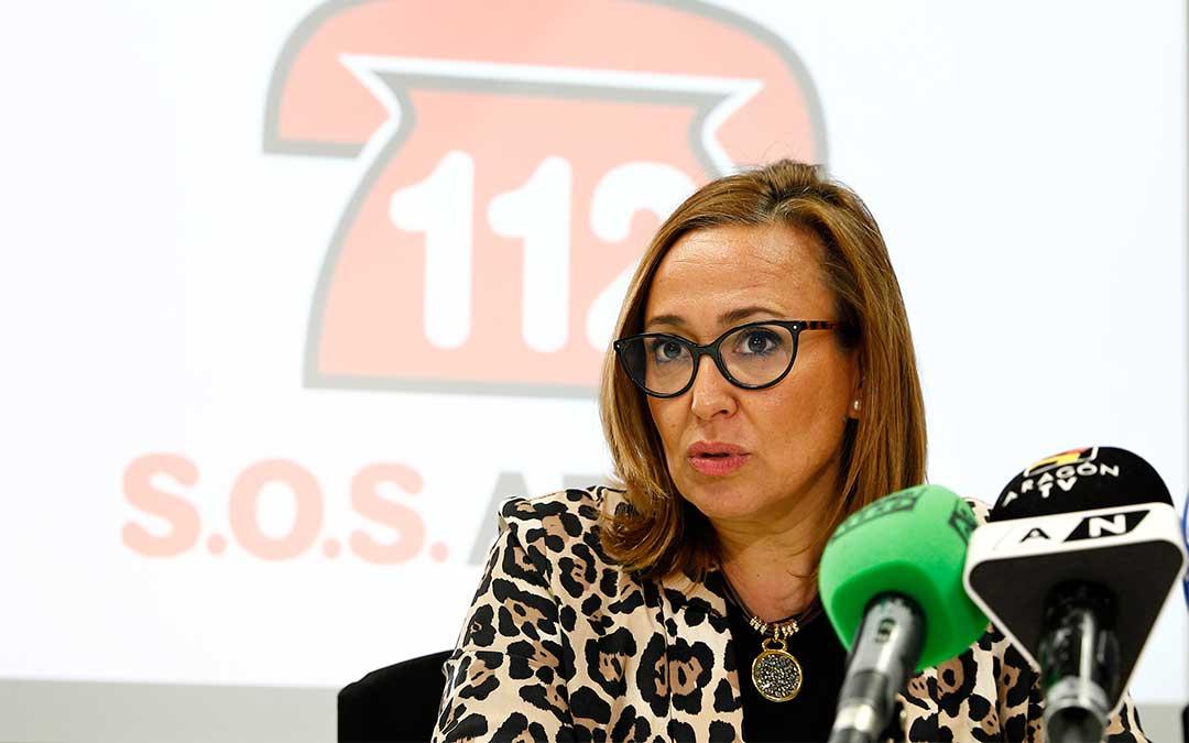 Mayte Pérez presenta el Día Europeo del 112 y la memoria anual del Centro de Emergencias./ DGA