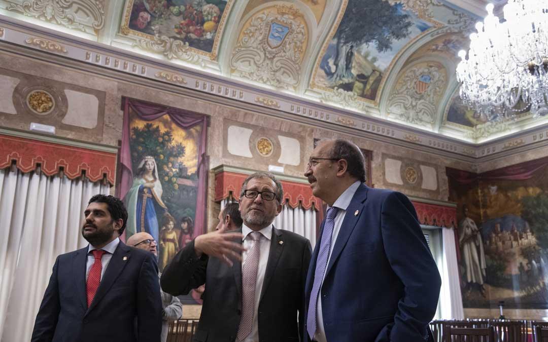 Los presidentes de Teruel, Manuel Rando; y Castellón, José Martí; con el diputado de Cultura Diego Piñeiro / DPT