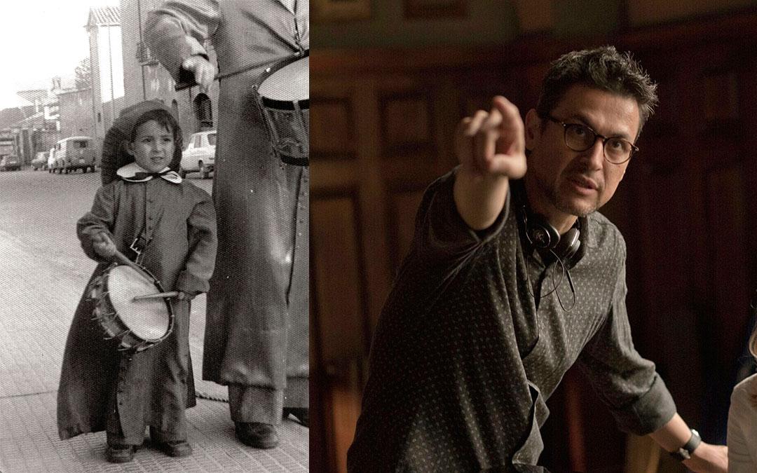 A la izda., Rodrigo Cortés de pequeño tocando el tambor por las calles alcañizanas junto a su padre./ Manolo Pavón- L.C.