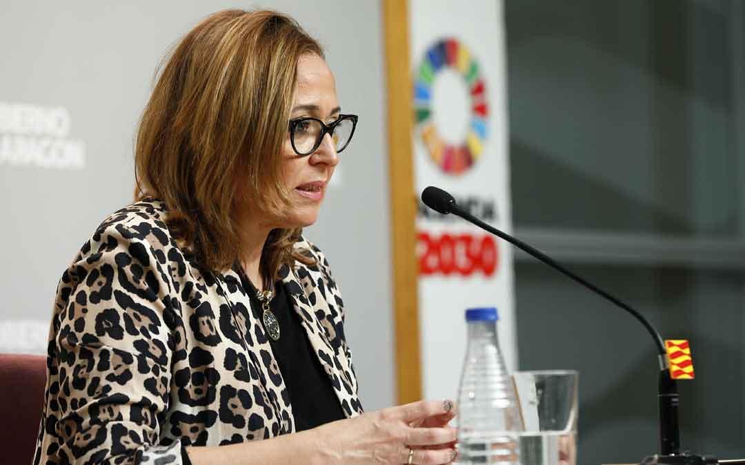 Mayte Pérez en la rueda de prensa posterior al Consejo de Gobierno ayer