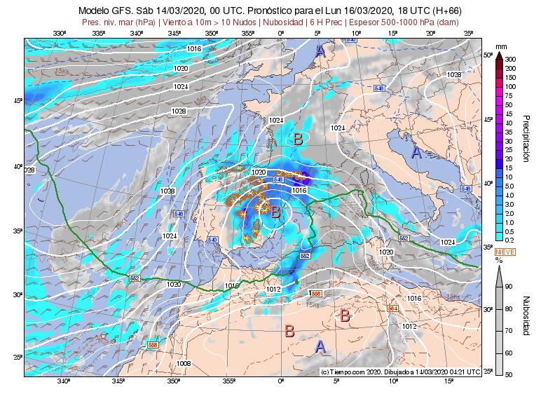 La borrasca se centrará en la península ibérica y afectará principalmente a la zona mediterránea.