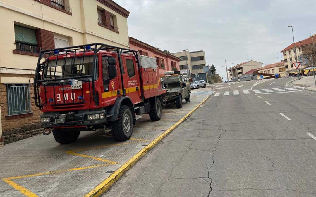 Despliegue de la UME este domingo en Alcañiz.