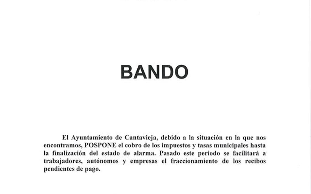 Bando emitido por el Ayuntamiento de Cantavieja sobre los impuestos.