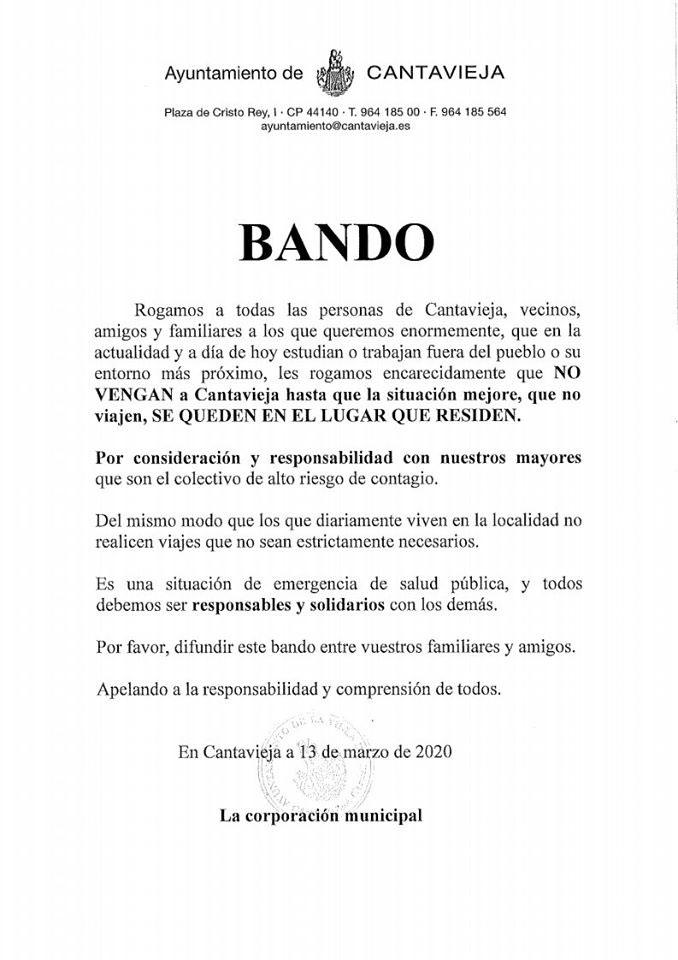 El Ayuntamiento de Cantavieja pide a los vecinos que están fuera que no vayan para evitar la expansión del coronavirus.