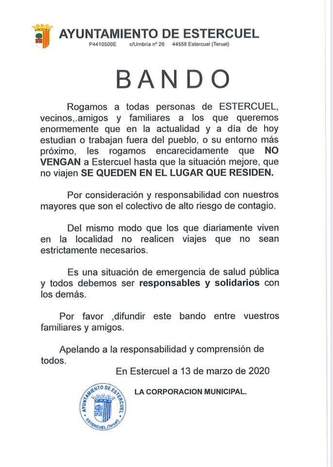 Bando contra el coronavirus del Ayuntamiento de Estercuel.