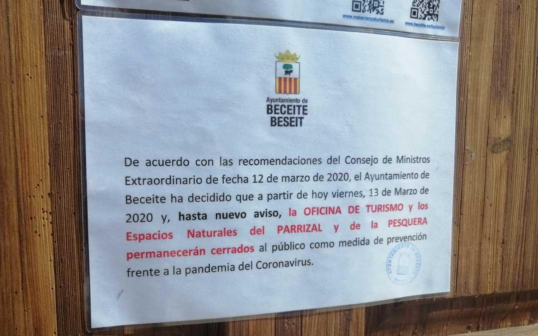 El Ayuntamiento de Beceite decide cerrar sus espacios naturales para evitar la llegada de turistas.