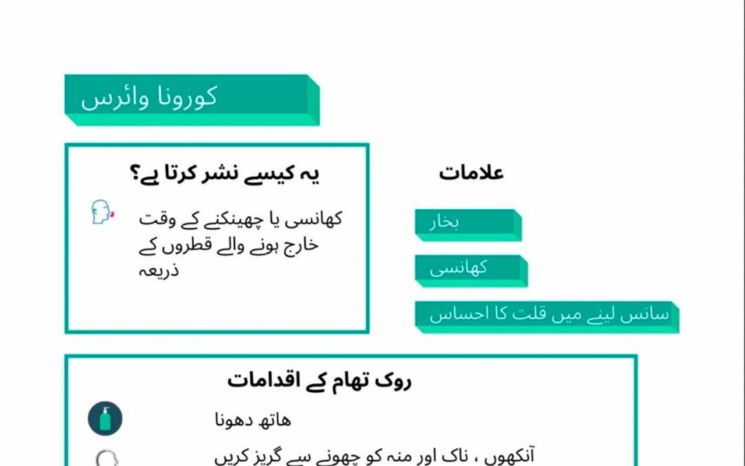 Cartel con información sobre el coronavirus en árabe.
