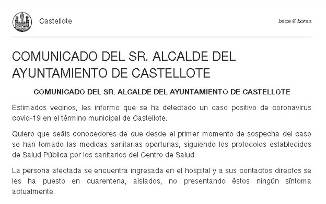 Publicación del Ayuntamiento de Castellote en la app Ebando