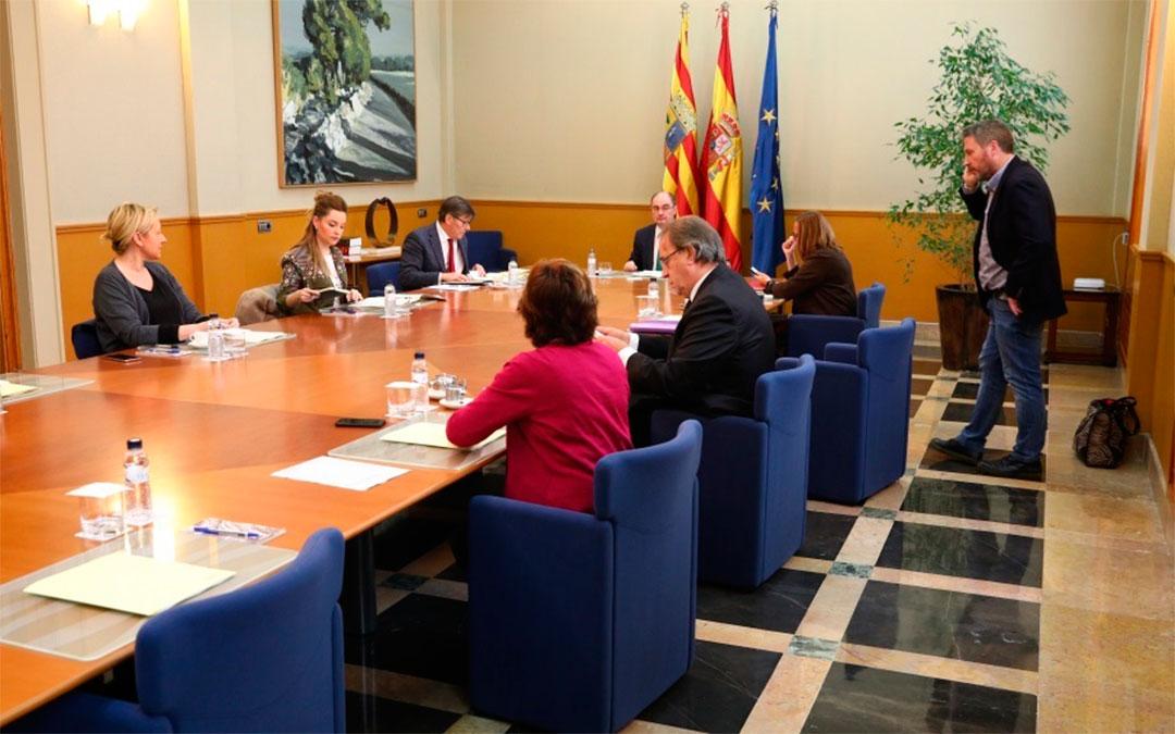 Consejo de Gobierno extraordinario celebrado este martes con motivo de la crisis sanitaria./ DGA