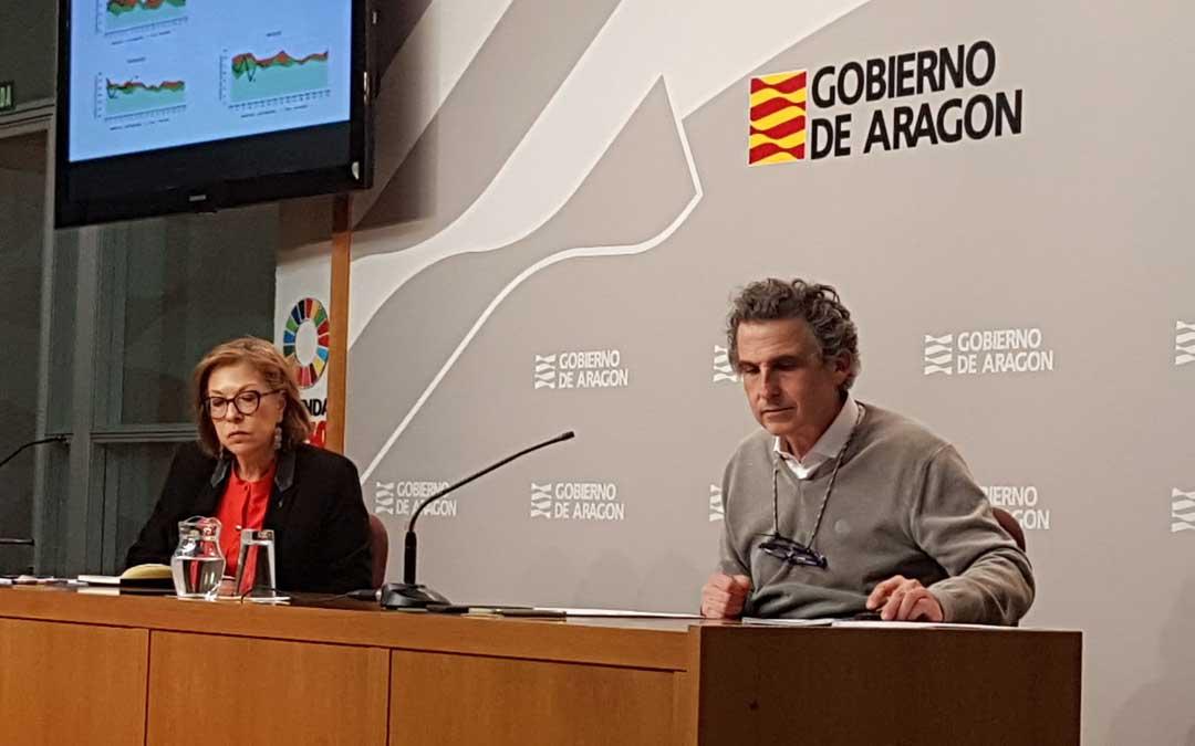 La consejera Ventura y el director general Falo, este jueves, en rueda de prensa / DGA