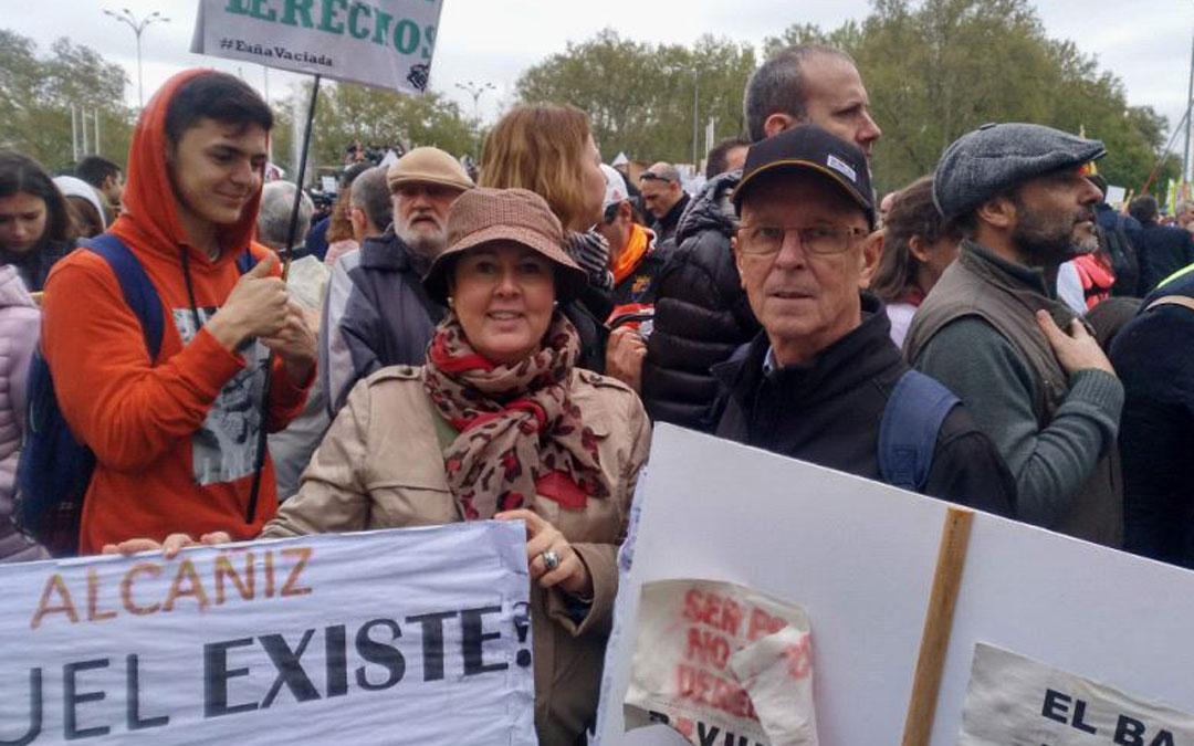 Manolo Ponz asistió hace un año a la manifestación de la España Vaciada con Ana Belén Andreu