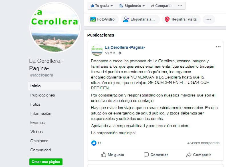 Vecinos de La Cerollera piden responsabilidad para frenar el contagio del coronavirus a través de Facebook.
