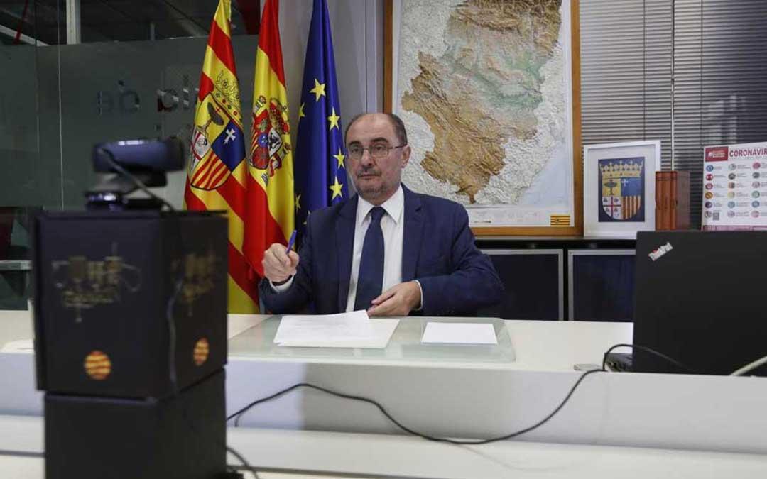 Lambán en la conferencia con Sánchez y los presidentes autonómicos / DGA