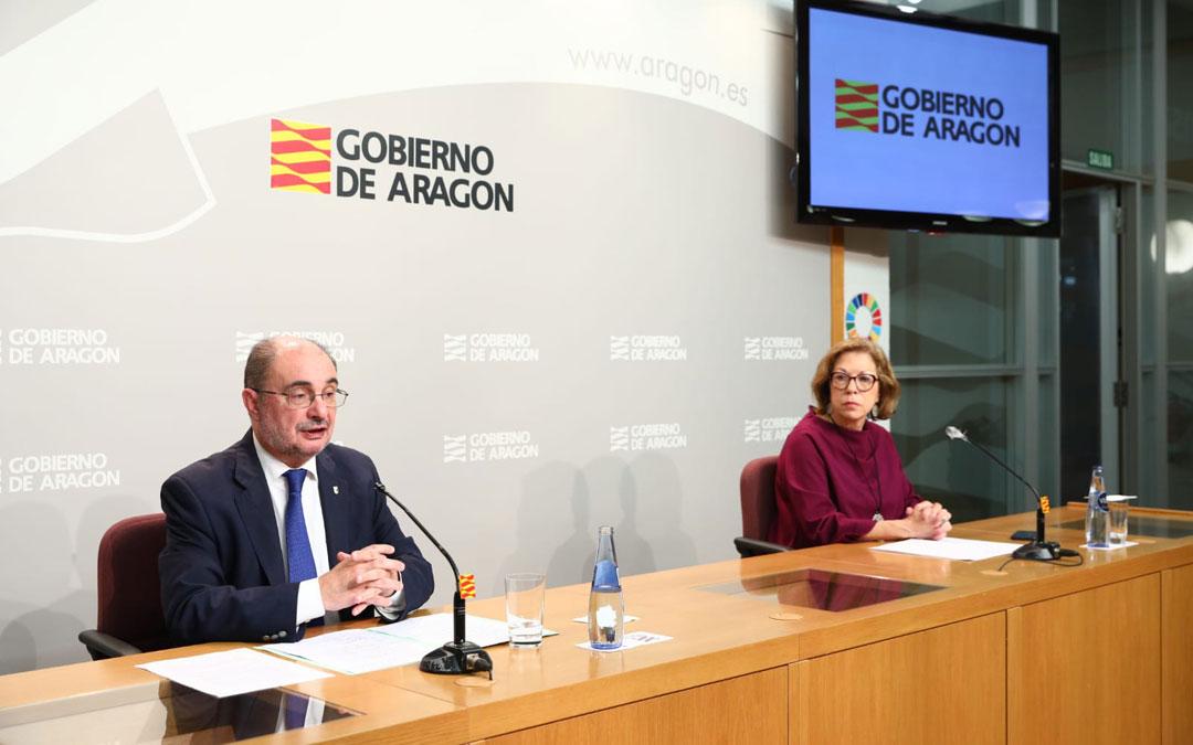 Rueda de prensa de Lambán y Ventura tras la videoconferencia con Pedro Sánchez.