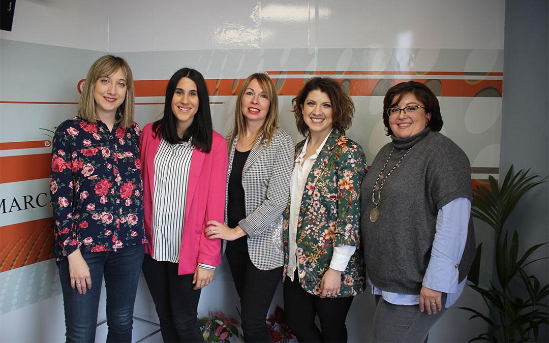 Las cinco emprendedoras que han unido fuerzas son de Utrillas, Valjunquera, Puigmoreno, Alcorisa y Calanda./ Laura Castel