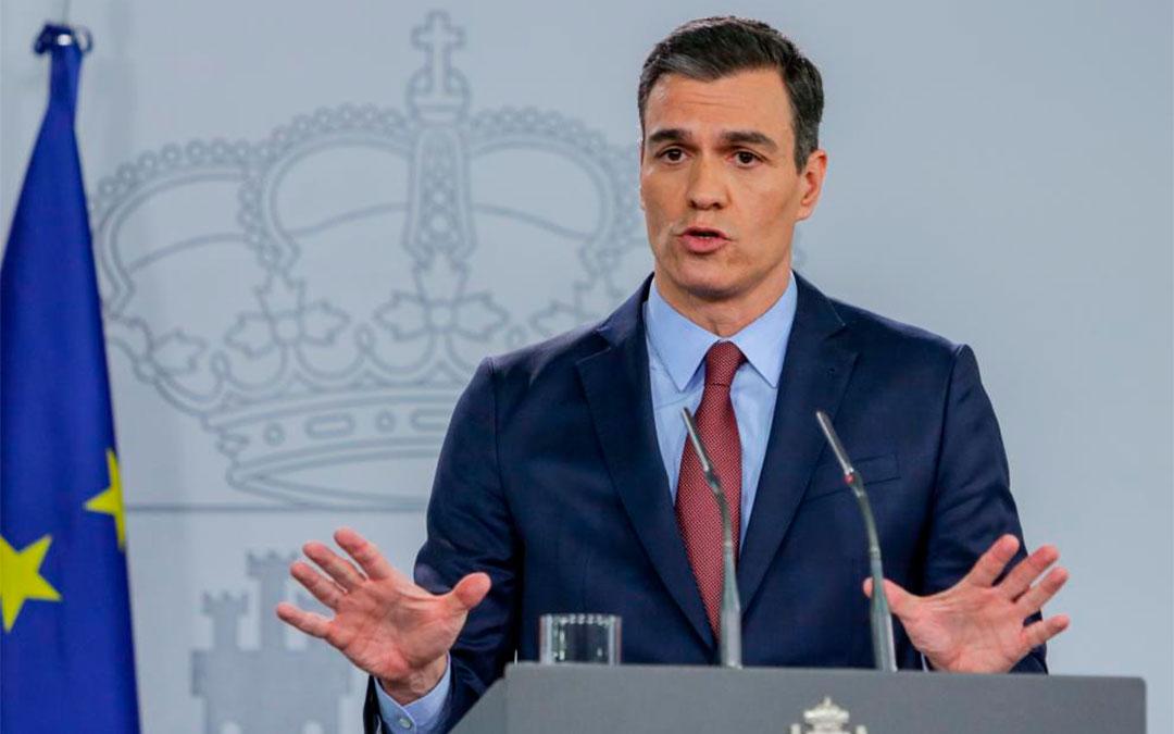 El presidente del Gobierno, Pedro Sánchez, durante la comparecencia.Ricardo Rubio./Europa Press