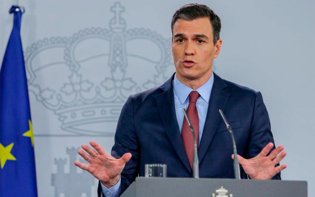 El presidente del Gobierno, Pedro Sánchez, durante la comparecencia en la que decretó el estado de alarma.Ricardo Rubio/Europa Press
