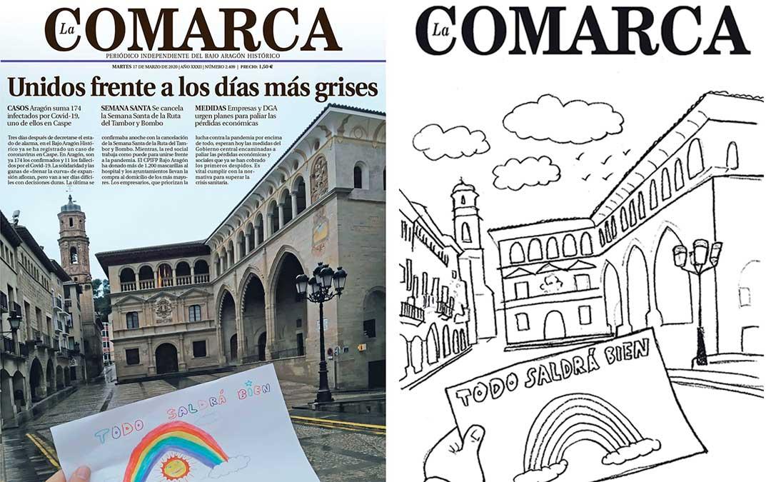 Portada del periódico La Comarca para colorear