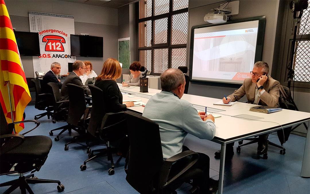 Reunión por videoconferencia este lunes de los miembros del CECOP (Centro de Cooperación Operativa)./ DGA
