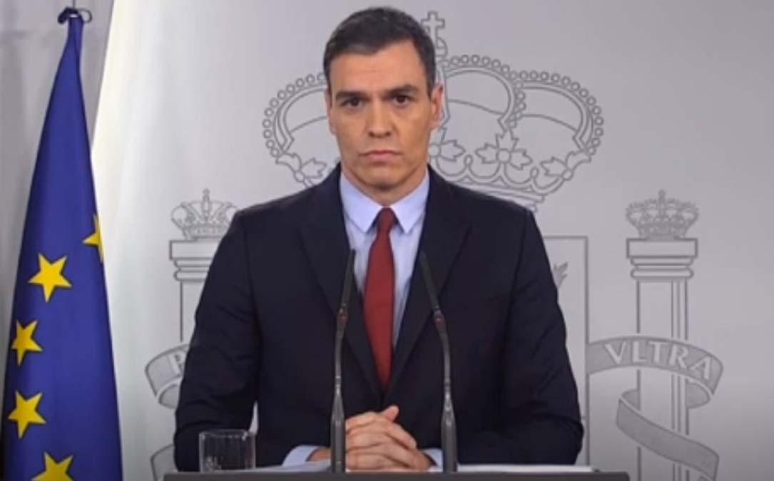 Sánchez este sábado durante su comparecencia tras declarar el estado de alarma