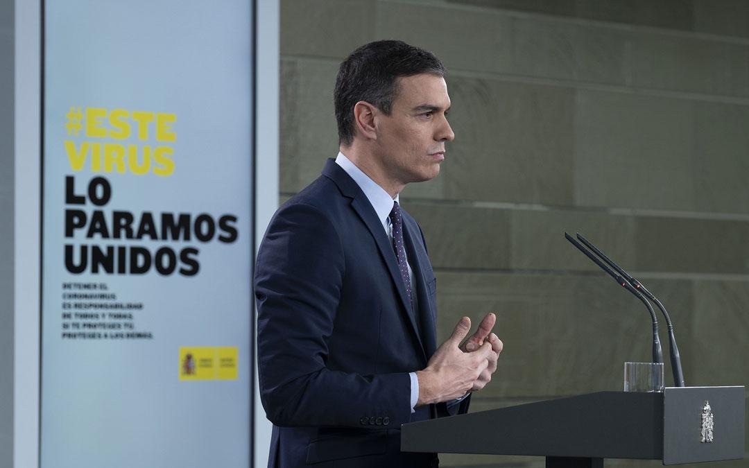 Pedro Sánchez, en una de las comparecencias sobre el coronavirus. / Pool Moncloa- Borja Puig de la Bellacasa