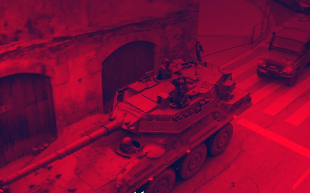 Imagen de Alcañiz utilizada por Sortu para denunciar la presencia de militares en el País Vasco estos días./ Twitter SORTU