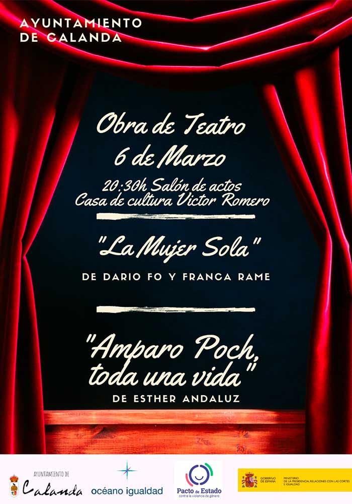 """Teatro en Calanda """"La mujer sola"""" y """"Amparo Poch, toda una vida"""""""