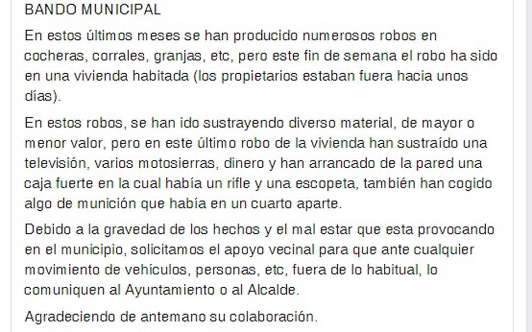 Bando del Ayuntamiento de Torrevelilla para advertir de los robos