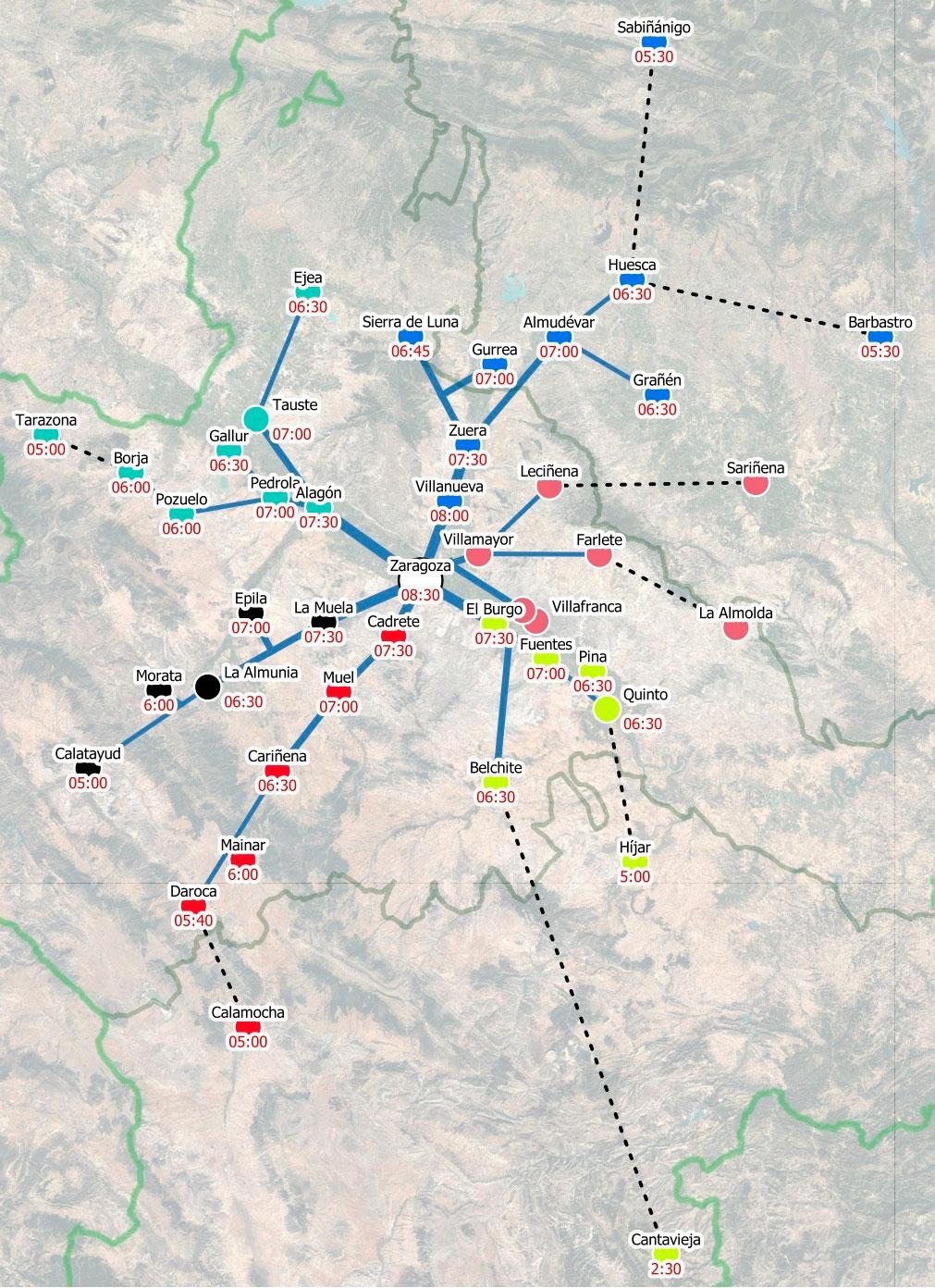 Mapa de las seis columnas que formarán los agricultores para llegar con sus tractores desde las distintas comarcas hasta el centro de Zaragoza./ Twitter UAGA