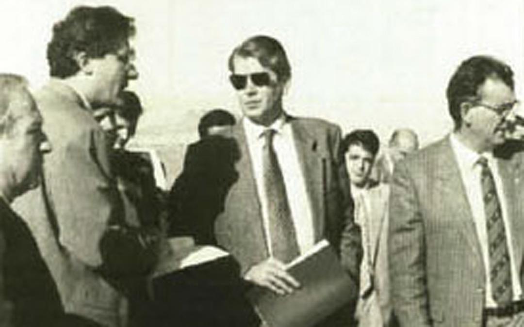 Visita a las obras del Canal Calanda-Alcañiz en noviembre de 1995. / Archivo La COMARCA