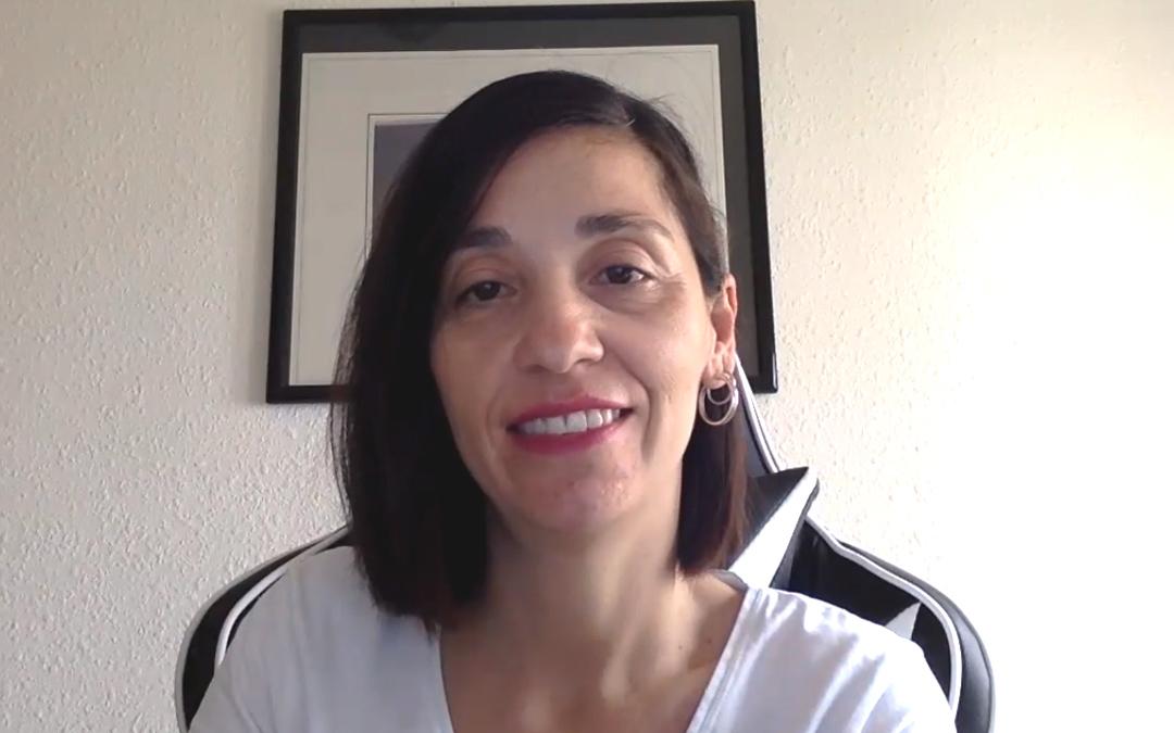 María Milián presentando su plan por videoconferencia