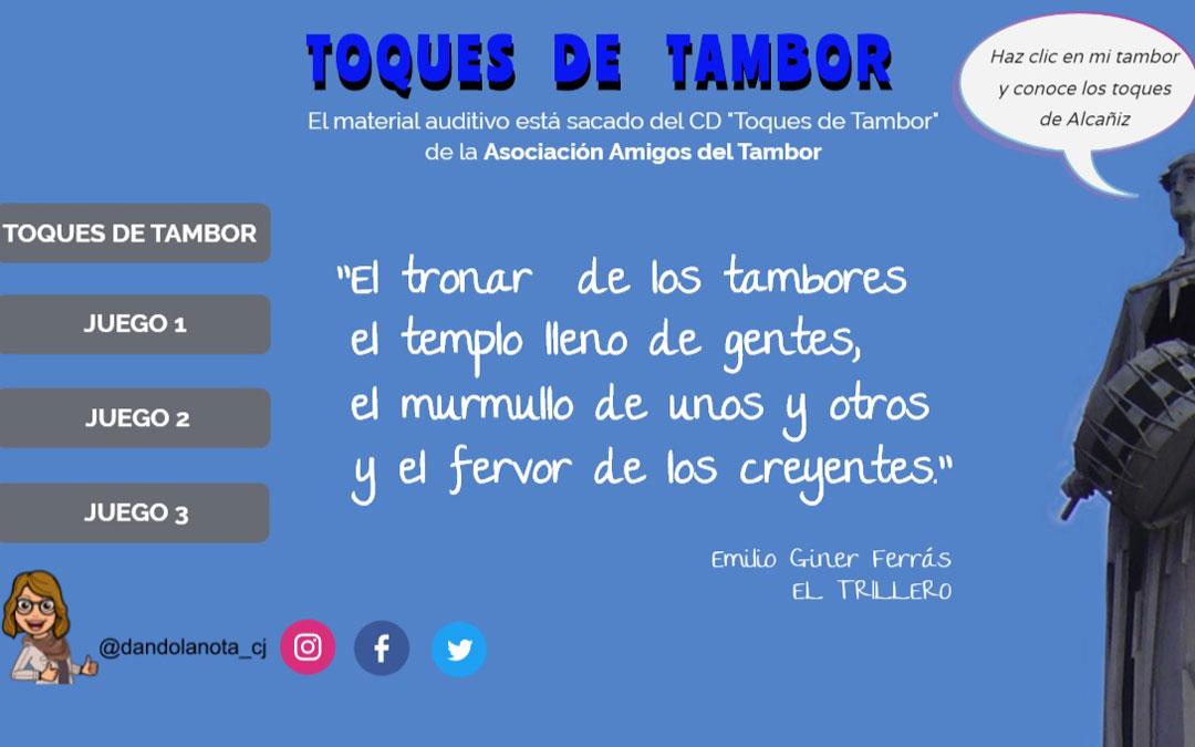 Página de inicio del portal abierto por el CEIP Juan Lorenzo Palmireno para interactuar con los toques de tambor.