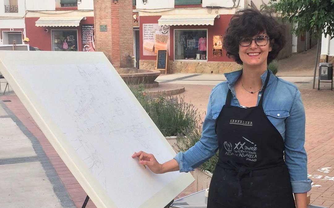 Eloísa, en uno de los Concursos de Pintura Rápida en los que ha participado, un reto en sí mismo. Tiene varios premios. / Archivo personal