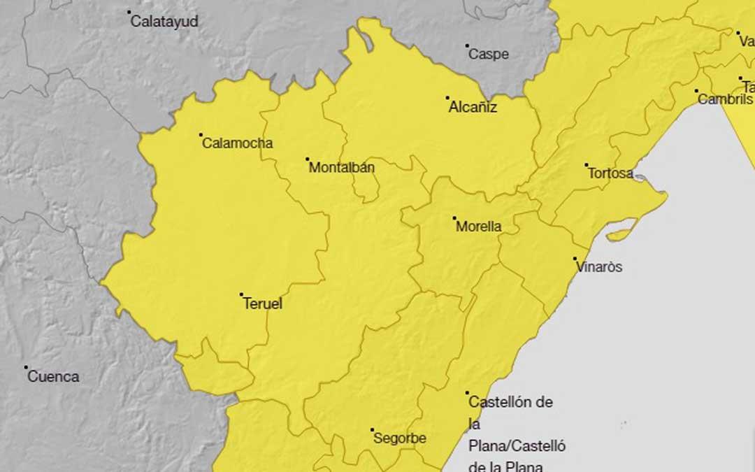 Mapa de Aemet de avisos por lluvias abundantes en el territorio. AEMET.