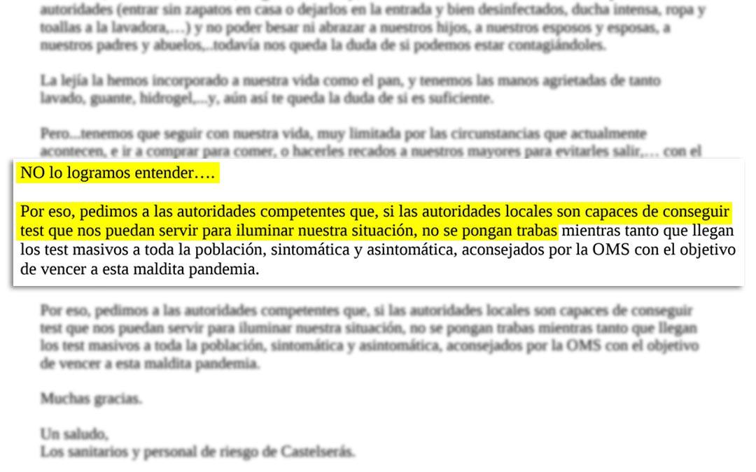 Fragmento de la carta firmada por los sanitarios y personal de riesgo de la localidad de Castelserás./ L.C.