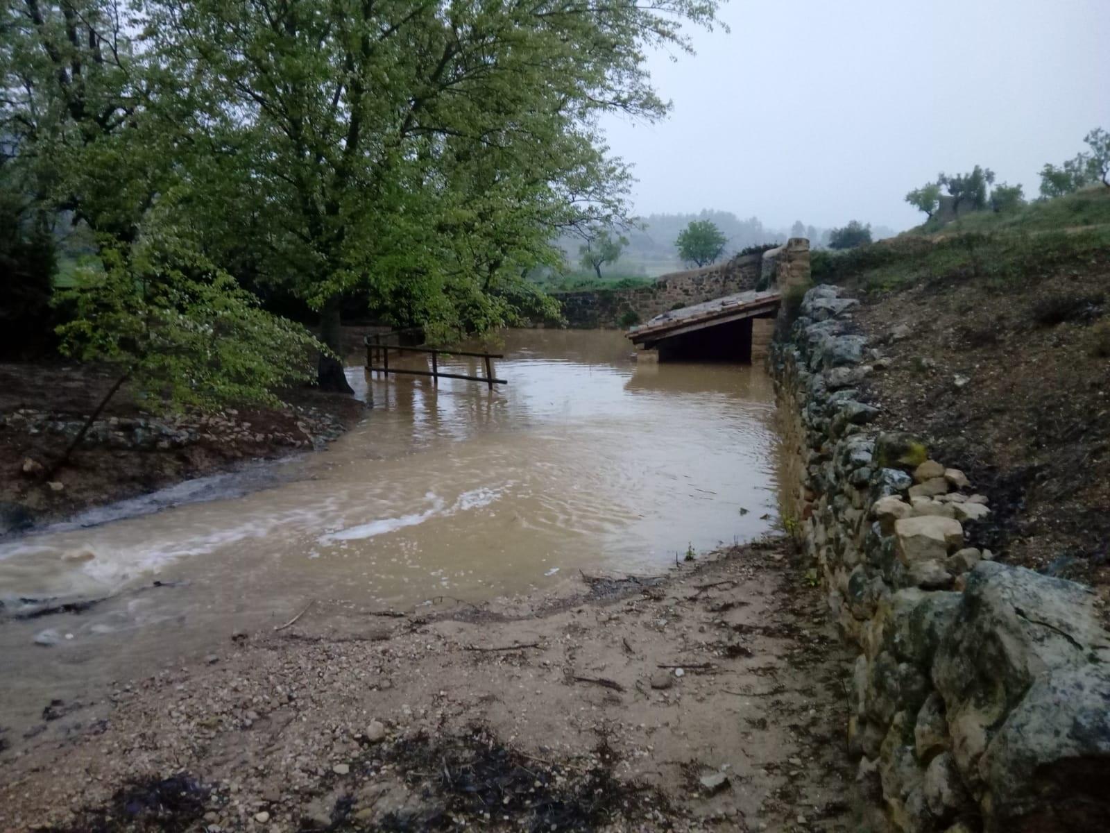 La Font d'Agramanet resultó afectada por las intensas lluvias en Cretas.