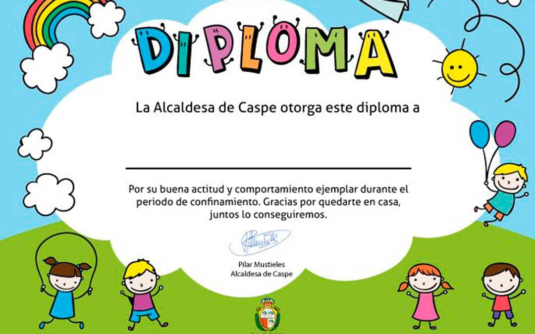 Diploma descargable para todos los niños de Caspe.