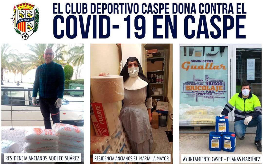 El Club Deportivo Caspe dona material de limpieza a residencias de ancianos y al Ayuntamiento