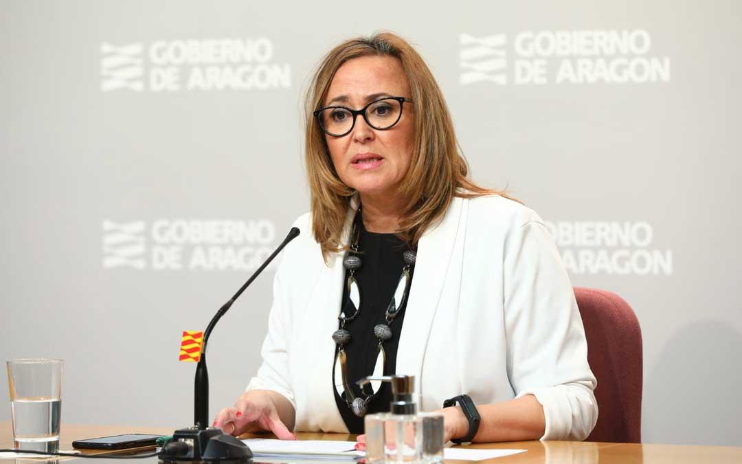 La consejera de Presidencia, Mayte Pérez, este lunes en rueda de prensa / DGA