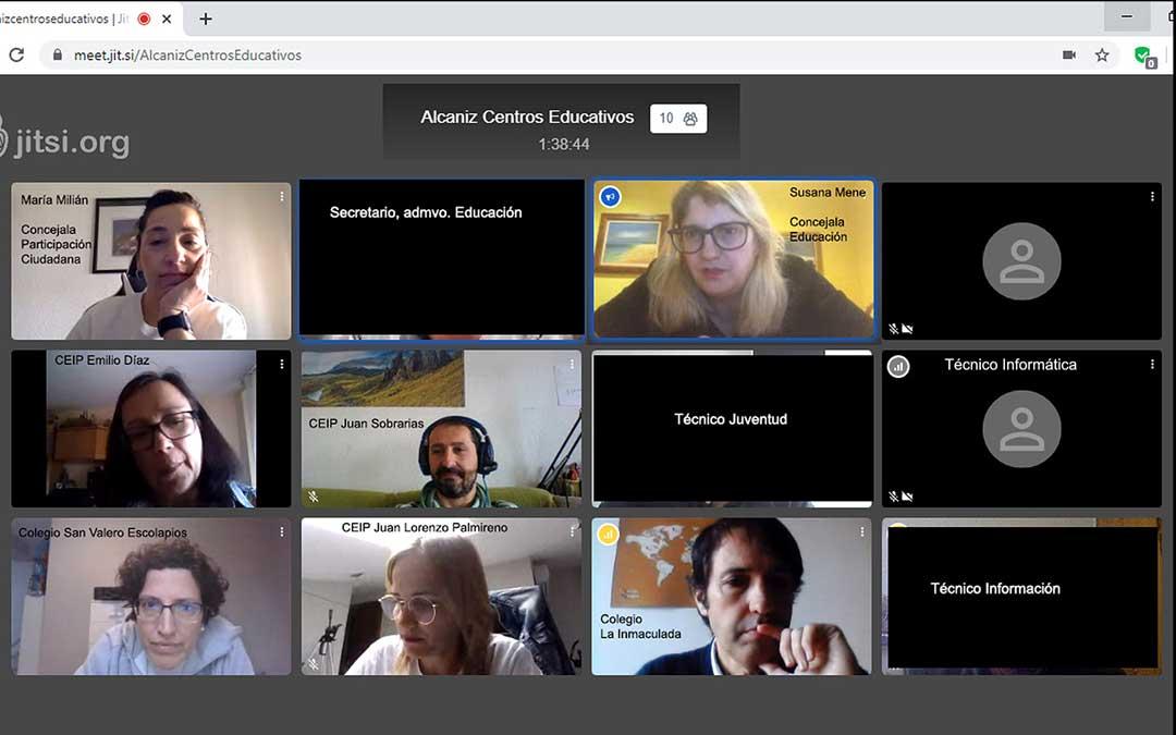 Videoconferencia de los centros y las ediles Milián y Mene