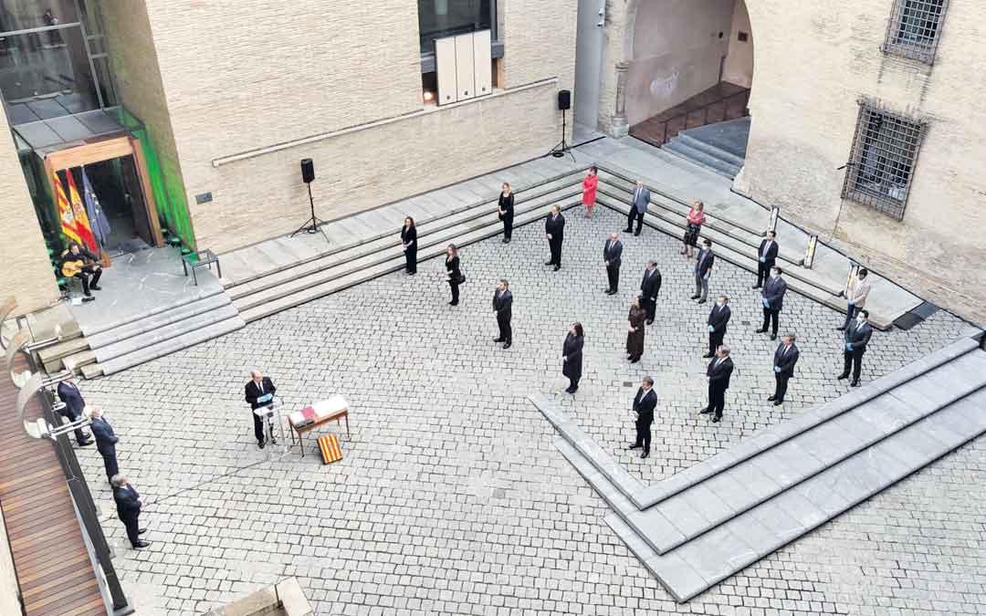 Foto aérea del acto institucional de este jueves por la tarde en las Cortes de Aragón