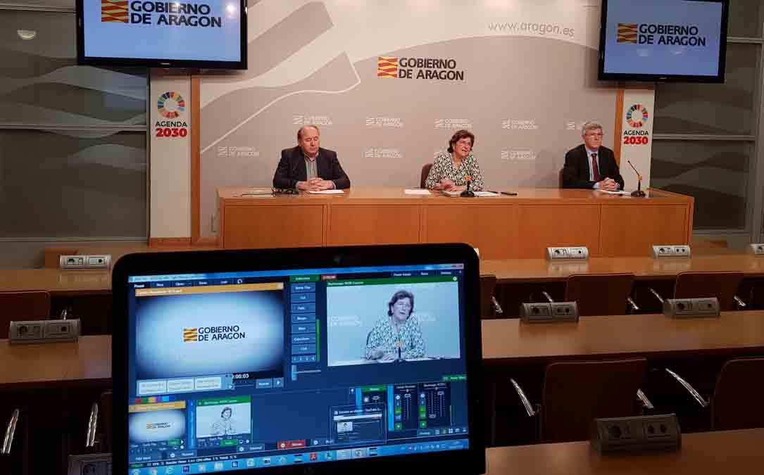Rueda de prensa esta mañana en el Gobierno de Aragón