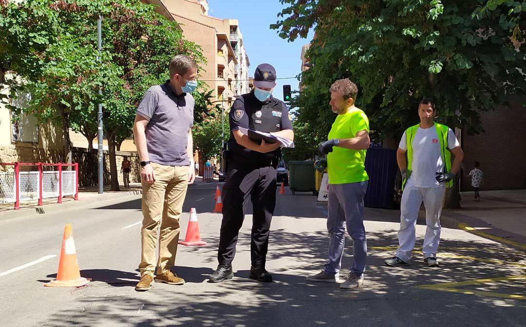 La avenida Aragón ya es de un solo carril en Alcañiz para ampliar terrazas