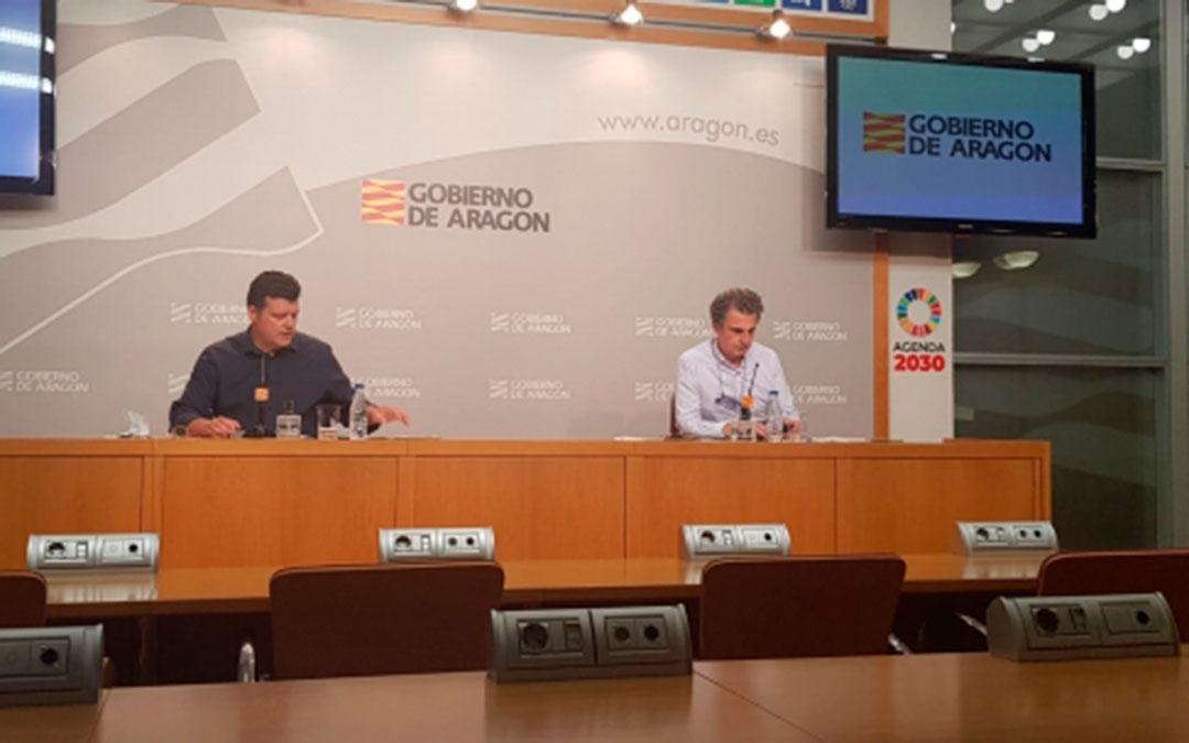 Javier Allué y Francisco Javier Falo durante la rueda de prensa sobre la Fase 2 de la desescalada en Aragón./ DGA