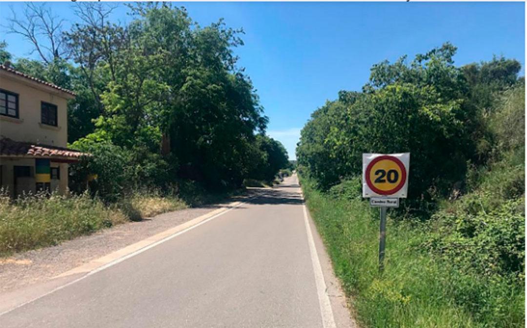 El camino de la Val de Zafán de Alcañiz, limitado a 20 km/h por seguridad de los viandantes