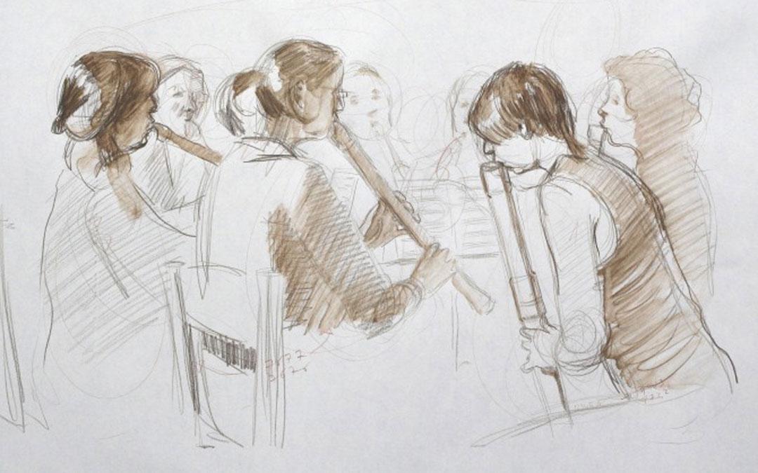 Uno de los dibujos de la serie 'musicians' para la exposición pendiente de 'Skizzierte Töne'.