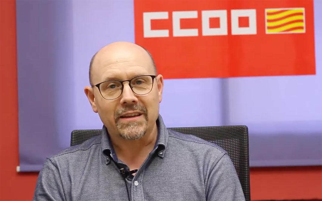 Manuel Pina, secretario general de CC.OO. Aragón durante su discurso telemático este Primero de Mayo./ CC.OO.