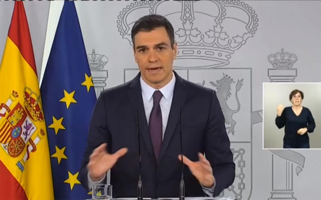 Pedro Sánchez durante una de sus comparecencias